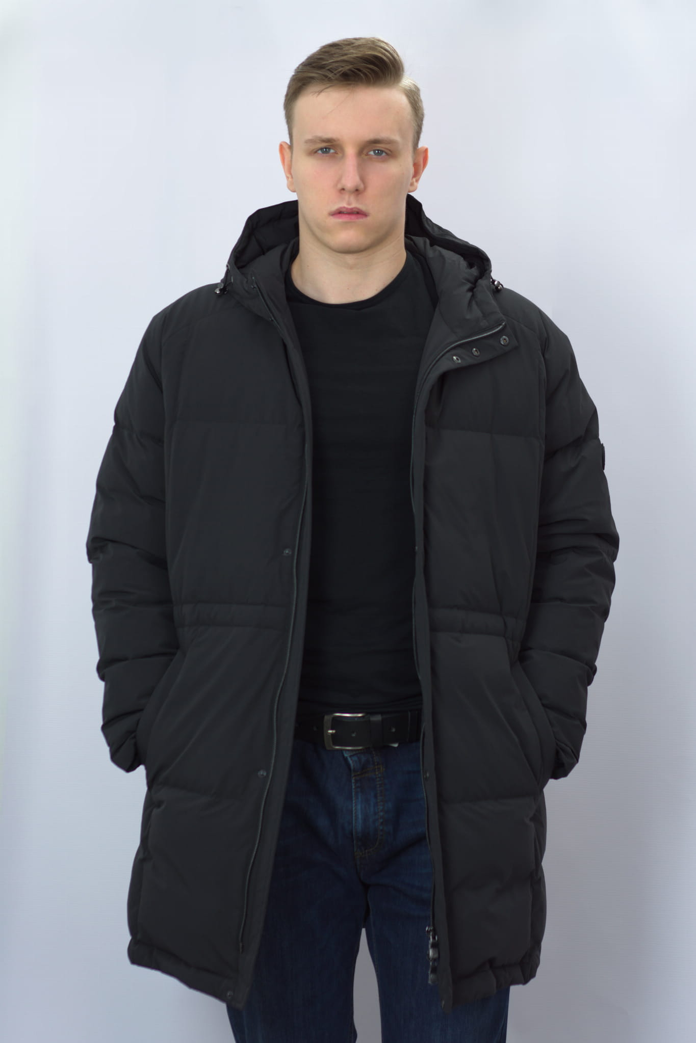 Długa kurtka puchowa męska Roy Robson czarna Regular fit